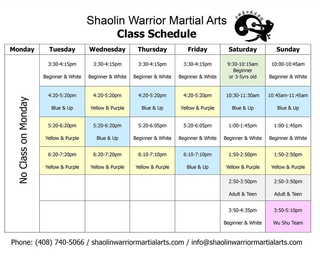 Shaolin Warrior Martial Arts - Kung Fu Class Schedule