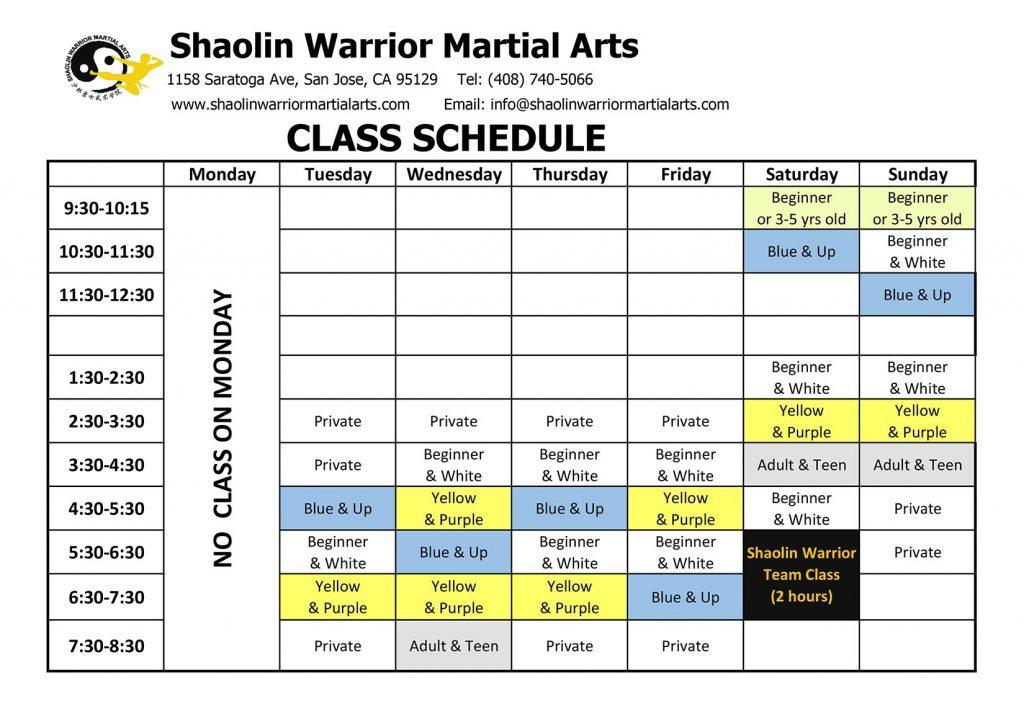 Kung Fu Class Schedule